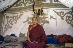 (24542_sl-3.psd) Lama Yeshe in his tent at the Mahabodhi Society, Bodhgaya, 1974.