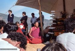 (25033_ng.TIF) Lama Yeshe and Geshe Losang Tsultrim at O Sel Ling. In September of 1982, H.H. Dalai Lama visited this retreat center that the lamas had just set up in Bubion, a small town near the Alpujarra mountains near Granada, Spain. At the end of His Holiness teaching he named the center O Sel Ling. Photo by Pablo Giralt de Arquer.