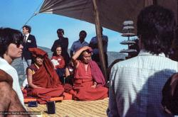 (25048_ng.TIF) Lama Yeshe and Geshe Losang Tsultrim at O Sel Ling. In September of 1982, H.H. Dalai Lama visited this retreat center that the lamas had just set up in Bubion, a small town near the Alpujarra mountains near Granada, Spain. At the end of His Holiness teaching he named the center O Sel Ling. Photo by Pablo Giralt de Arquer.
