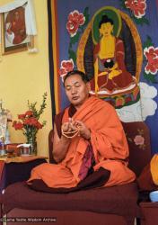 (25081_ng-3.TIF) Lama Yeshe at Centro Buddista Nagarjuna, Madrid, Spain, 1983. Pablo Giralt de Arquer (photographer)