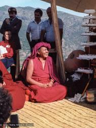(25100_ng.TIF) Lama Yeshe and Geshe Losang Tsultrim at O Sel Ling. In September of 1982, H.H. Dalai Lama visited this retreat center that the lamas had just set up in Bubion, a small town near the Alpujarra mountains near Granada, Spain. At the end of His Holiness teaching he named the center O Sel Ling. Photo by Pablo Giralt de Arquer.