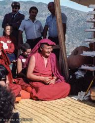 (25101_ng.TIF) Lama Yeshe and Geshe Losang Tsultrim at O Sel Ling. In September of 1982, H.H. Dalai Lama visited this retreat center that the lamas had just set up in Bubion, a small town near the Alpujarra mountains near Granada, Spain. At the end of His Holiness teaching he named the center O Sel Ling. Photo by Pablo Giralt de Arquer.