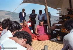(25106_ng.TIF) Lama Yeshe and Geshe Losang Tsultrim at O Sel Ling. In September of 1982, H.H. Dalai Lama visited this retreat center that the lamas had just set up in Bubion, a small town near the Alpujarra mountains near Granada, Spain. At the end of His Holiness teaching he named the center O Sel Ling. Photo by Pablo Giralt de Arquer.