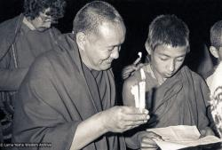 (25140_ng-3.psd) Lama Yeshe with a MEC novice, Christmas, Kopan Monastery, 1978. Robin Bath (photographer)