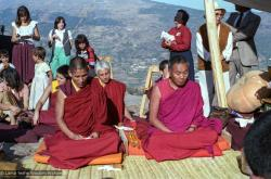 (25308_ng.TIF) Lama Yeshe and Geshe Losang Tsultrim at O Sel Ling. In September of 1982, H.H. Dalai Lama visited this retreat center that the lamas had just set up in Bubion, a small town near the Alpujarra mountains near Granada, Spain. At the end of His Holiness teaching he named the center O Sel Ling. Photo by Pablo Giralt de Arquer.