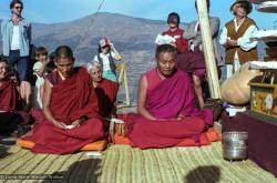 (25314_ng.TIF) Lama Yeshe and Geshe Losang Tsultrim at O Sel Ling. In September of 1982, H.H. Dalai Lama visited this retreat center that the lamas had just set up in Bubion, a small town near the Alpujarra mountains near Granada, Spain. At the end of His Holiness teaching he named the center O Sel Ling. Photo by Pablo Giralt de Arquer.
