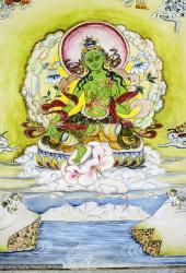 Tara thangka painted by Lama Zopa Rinpoche for Max Mathews in 1971, Kopan Monastery.