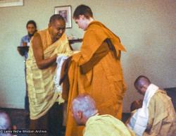 (26029_pr-3.psd) Lama Yeshe and Connie Miller, ordination, UCSC (University of Calif. at Santa Cruz), 1978. Vicki Brown is in the lower right corner. Connie Miller (donor)