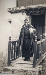 (27368_pr-1.psd) Geshe Jampa Gyatso leaving Steve's Tower, Kopan Monastery, 1977.