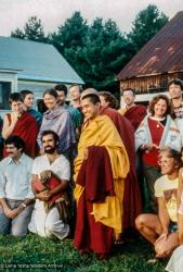 (29448_ud-3.jpg) Lama Zopa Rinpoche and Merry Colony at Milarepa Center, 1981.