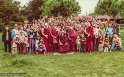 (32810_pr-3.psd) HH Zong Rinpoche with the lamas, sangha and students, Camp Kennolyn group, 1978.