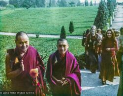 (32824_pr-3.psd) Lama Yeshe and Lama Zopa Rinpoche at Eupilio,  Italy, 1975.