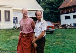 (33154_pr-3.psd) Thubten Pelgye (John Douthitt) and Peter Baker, Milarepa Center, Vermont, 1981.