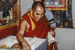 (33279_pr.jpg) Geshe Sopa during a cycle of pujas that were done for Lama Yeshe before the formal cremation, Vajrapani Institute, California, 1984. Photo by Ricardo de Aratanha.