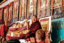 (33570_pr-3.psd) Lama Yeshe giving final teaching at Sixteenth Kopan course, Kopan Monastery, Nepal, 1983. Jeff Nye (photographer)