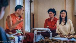 (33659_pr-3.psd) Lama Yeshe with Elisabeth Drukier and Elea Redel, Institut Vajra Yogini, Marzens, France, 1981. Jeff Nye (photographer)