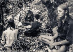(33716_pr-3.tif) Lama Yeshe consecrating A-frame land at Tushita Retreat Centre, Dharamsala, India, 1973. Pete Northend is on the right.