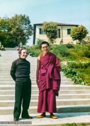 (35722_pr-3.psd) Lama Zopa Rinpoche with priest (possibly Padre Yentli), Eupilio, Italy, 1975. Courtesy Collection of Istituto Lama Tzong Khapa.