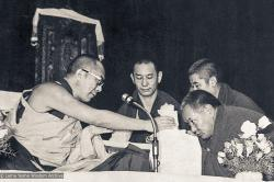(35940_ng-3.jpg) H.H. 14th Dalai Lama and Lama Yeshe at Second Dharma Celebration , Ashoka Hotel, New Delhi, India, 1982.