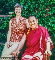 (35971_pr-3.psd) Lama Yeshe with Carol Fields, Berkeley, CA, 1977. Carol Fields (donor)