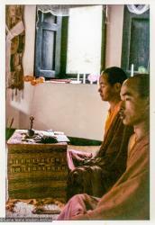 (36901_pr-3.psd) Lama Yeshe doing puja in Zina's room, Losang Chonjor, right, Kopan Monastery, 1972. Jan Willis (donor-photographer)
