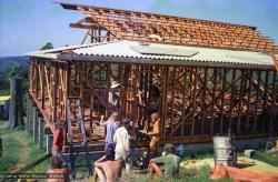 (37334_ng.tif) Building the Chenrezig Institute gompa (meditation hall), February/March,1975. From the collection of images of Lama Yeshe, Lama Zopa Rinpoche and the Sangha during a month-long course at Chenrezig Institute, Australia.