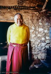 (38090_pr-3.psd) Lama Yeshe in the Lawudo kitchen, Lawudo Retreat Center, Nepal, 1981. Dean Alper (donor)