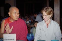 (38159_ng-3.psd) Lama Yeshe and Margaret Castles, Hotel Oberoi,  India, 1983.