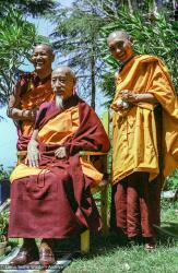 (38502_ng-3.psd) Lama Yeshe and Lama Zopa Rinpoche with Zong Rinpoche, Tushita Retreat Centre, Dharamsala, India, 1982.