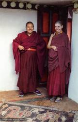 (38540_ng-3.psd) Lama Yeshe with Thubten Pemo (Linda Grossman), Kopan Monastery, Nepal, 1983.
