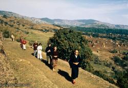 (39232_pr-3.jpg) Zengo leading walking meditation on Kopan Hill, Kopan Monastery, Nepal, 1971.