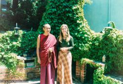 (39279_pr-3.psd) Lama Yeshe and Carol Fields at her house in Berkeley, 1974. Photo by Judy Weitzner.