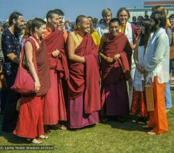 (39284_ng-3.TIF) The Lama Yeshe and Lama Zopa Rinpoche arriving at Maroochydore airport, Queensland, Australia, 1974. Wendy Hobbs (photographer)