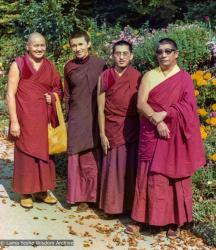 (39314_pr-3.TIF) Lama Yeshe and Lama Zopa Rinpoche with Gonsar Tulku and Geshe Rabten,  Switzerland, 1975.