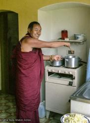 (39323_ng-3.tif) Lama Yeshe cooking at Manjushri Institute, 1979.