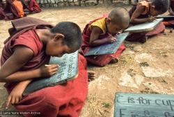 (39342_sl-3.jpg) Mount Everest Center students, Lawudo Retreat Center, Nepal, 1977