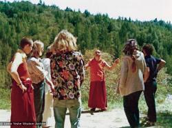 (39353_ud-3.psd) Lama Yeshe on Vajrapani land, Vajrapani Institute, CA, 1977.  Rick Crangle (donor)