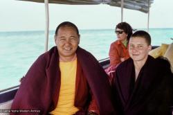 (39360_ng-3.jpg) Lama Yeshe and Yeshe Khadro (Marie Obst), Heron Island, Australia, 1977