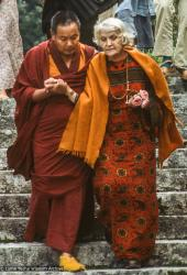 (39363_sl-3.tif) Lama Yeshe with Sigrid Kremzov, Manjushri, 1978.
