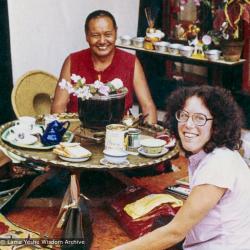 (39379_pr-3.psd) Lama Yeshe and Lori Cayton, Kopan Monastery, 1979. Karuna Cayton (donor)