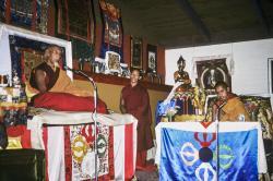 (39385_sl-3.psd) Song Rinpoche with Tenzin Wangchuk, Camp Kennolyn, CA, 1978.