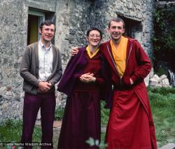 (39396_sl-3.tif) Harvey Horrocks, Nicole Couture (Kedge), and Peter Kedge, Manjushri Institute, England, 1978.