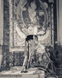 (39403_pr-3.psd) Lama Zopa Rinpoche in ceremonial dress for Heruka initiation, Manjushri Institute, England, 1978. Brian Beresford (photographer)