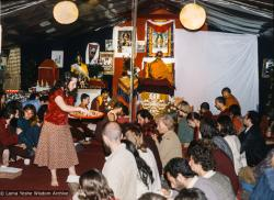 (39405_sl-3.tif) Puja at Istituto Lama Tzong Khapa with Zong Rinpoche, Italy, 1978.