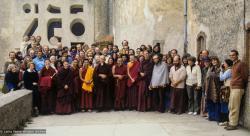 (39409_sl-3.jpg) Saint-Maximin-la-Sainte-Baume group including Zong Rinpoche, Lama Yeshe, Lama Zopa Rinpoche, Piero Cerri, and Nicole Couture, France, 1978.