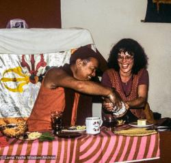 (39425_sl-3.psd) Lama and Sylvia, Tara teachings, Jagerndorf, Germany, September 1981.