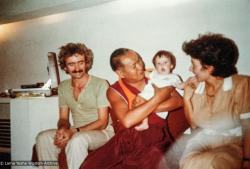 (39437_ng-3.tif) Paco and Maria Hita with Lama Yeshe holding their daughter Harmonie (Armonia) at 7 months old, Madrid, Sept., 1980.
