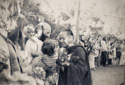 (39443_ud-3.psd) Lama Yeshe, Dorian Ribush holding Ling, Alison Ribush with Kalu just behind Dorian, Chenrezig Institute, Australia, 1979.