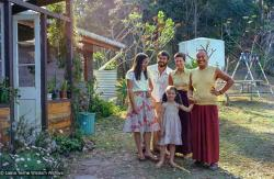 (39446_ud-3.psd) Tom and Kathy Vichta with their daughter Rhianon, Yeshe Khadro (Marie Obst) and Lama Yeshe, Mooloolah, Australia, 1981.