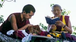 (39473_sl-3.psd) Lama Zopa Rinpoche and Geshe Legden, Chenrezig Institute, Australia, 1980.